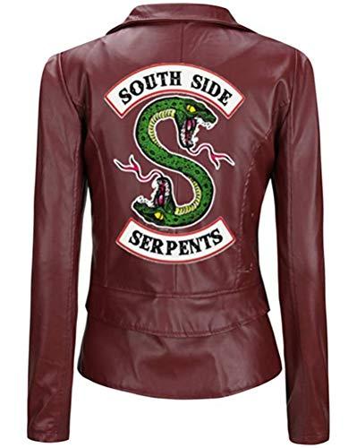 Yesgirl Riverdale Southside Serpents Giacca da Donna Ragazza alla Moda in Pelle Maglione in Pelle Slim Fit Maglione Senza Pancia Maglia Corta Moda (S, H Rosso)