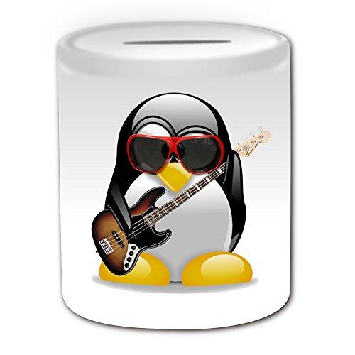Personalisiertes Geschenk–E-Bass Gitarre Spardose (Design Pinguin in Kostüm Thema, weiß)–alle Nachricht/Name auf Ihre einzigartige–Musik Musikinstrument