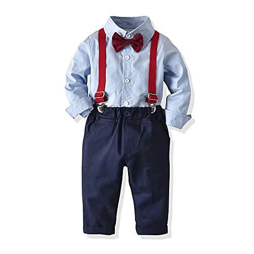 Ropa Bebe Conjunto Niño Traje de Vestir Conjuntos de Otoño e Invierno Camisa de Manga Larga Pantalón + Pajarita Tirantes Ropa Niño Caballero 6 Meses a 6 años (Azul003, 18-24M)