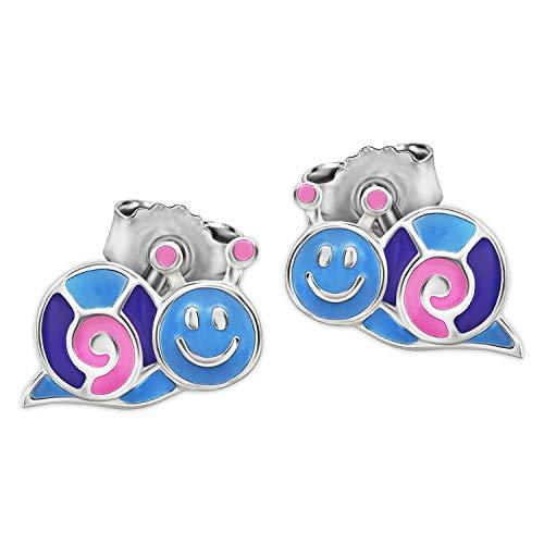 Clever Schmuck Silberne kleine Mädchen Ohrringe als Ohrstecker Mini Schnecke 9 x 5 mm rosa lila hellblau lackiert glänzend STERLING SILBER 925 für Kinder