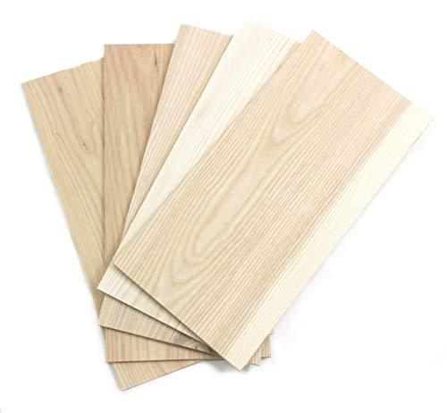 wodewa Holz Furnier Set 4mm Starkfurnier Esche 15x14cm 5er Set Sägefurnier Bastelholz Platten Echtholz Holzfurnier zum Basteln Holzplatte Bastelset Modellbau DIY