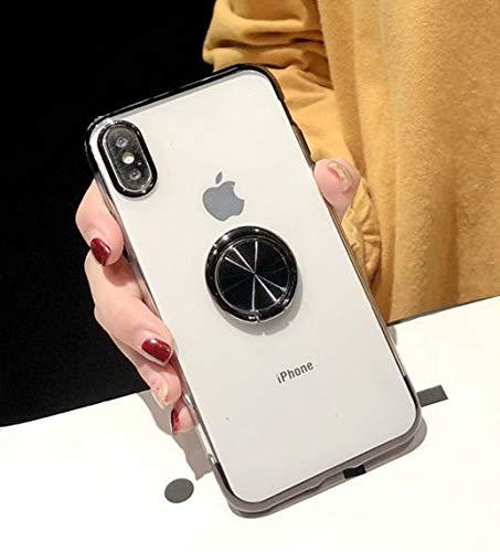 XMCJ Funda magnética de lujo para iPhone X 8 7 6 6S Plus XS Max XR cubierta transparente soporte de coche soporte soporte soporte de dedo anillo trasero carcasa (color: negro, material: para iPhone 8)