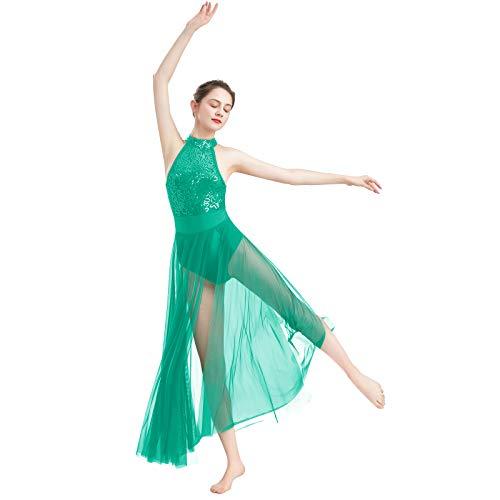 FYMNSI Vestido de danza lrica para mujer, moderno, contemporneo, sin mangas, cuello halter, espalda abierta, lentejuelas, malla de tul, falda larga, disfraz de ballet