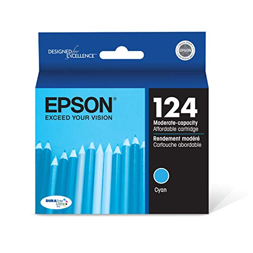 EPSON T124 DURABrite Ultra Ink Standard Capacity Cyan Cartridge (T124220-S) for Select Epson Stylus and Workforce Printers