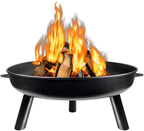 Feuerschale Ø 80 cm Rund Feuerstelle Draußen mit 3 Beinen für Garten, Gemütliche Feuer