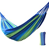 Etravel Hamaca al aire libre Camping Jardín Playa Viajes de lona de algodón, Capacidad de carga de hasta 200 kg, portátil con bolsa de transporte (azul)