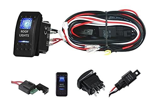 Flexzon 12 V 24 V LED barra de luz de trabajo Kit de cableado de arnés interruptor de telar Kit de relé 2 cables