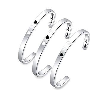 ENSIANTH Sister Bracelet Big Middle Little Sister Cuff Bracelet of 3 Sister Jewelry Gift for Best Friends  Sister Bracelet