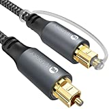 Optical Audio Cable, WARRKY 6ft Fiber Optic Cable [Metal Case, Nylon Braided, Gold Plated Plug] Digital Optical Audio Toslink Cable Compatible with Sound Bar, TV, PS4, Xbox, Samsung, Vizio