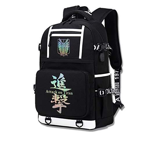 2020 Nuevo Ataque EN Titan MOUTEPACK Daypack Bookbag Portátil Bolso de la Escuela con Puerto de Carga USB Gran Mochila Universal (Color : 2u)