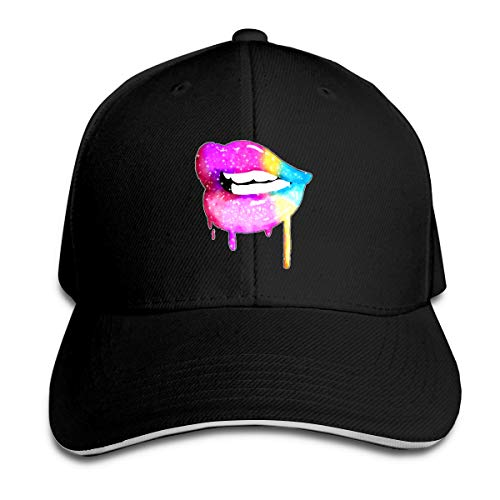 Men & Women Baseball Cap, Sparkle Glitter Kiss Lips Colorful Rainbow Caps, Perfect Custom Headwears Suitable for Outdoor Sporting Black