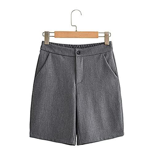 Pantalones Cortos Casuales para Mujer, Moda de Verano, Temperamento, Cintura Alta, Pantalones Cortos de Traje de Pierna Ancha, Pantalones Cortos Casuales para Viajar al Trabajo L