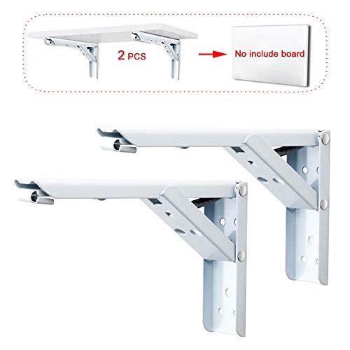 KaDz Soporte de pared plegable blanco, mesa plegable (rojo/blanco), hierro forjado, engrosado, soporte triángulo plegable, Sin tabla, 30,5 cm
