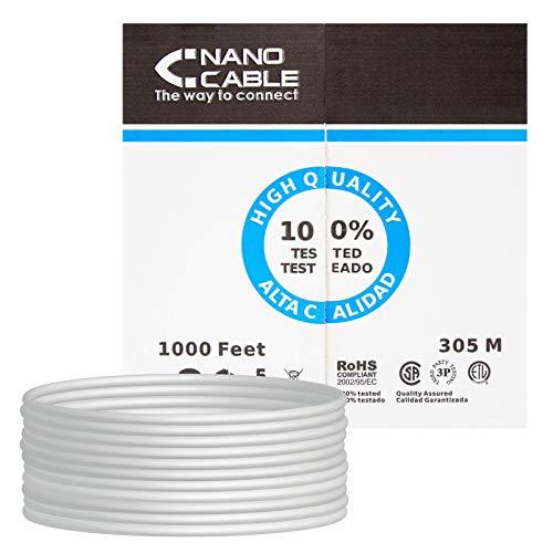 NANOCABLE 10.20.0304 - Cable de Red Ethernet rigido RJ45 Cat.5e UTP AWG24, Gris, Bobina de 305mts