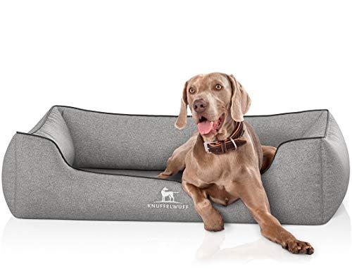 Knuffelwuff Orthopädisches Hundebett XXL Amelie Hundekorb Hundesofa Hundekissen Hundekörbchen waschbar grosse Hunde 120 x 85cm Grau