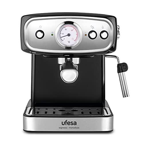 Ufesa CE7244 Brescia Cafetera Expresso y Capuccino, Vaporizador Orientable, 20 Bares, 2 Modos: Café Molido o Monodosis, Depósito 1.5L, Función Calienta Tazas, 850W