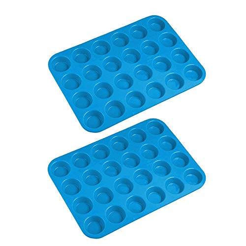 Lot de 2 moules en silicone anti-adhésif pour muffins bleu