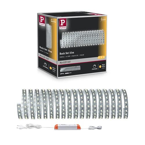 Paulmann MaxLED 500 Strip Basisset - 10 m LED Lichtleiste in Warmweiß, selbstklebend und bedarfsgerecht kürzbar - Komplettset mit 720 LED - Energieklasse A+ - 70829