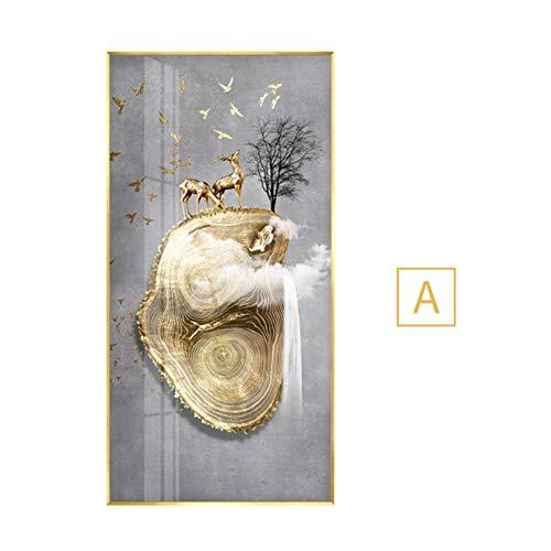 Abstracte gouden herten vogel jaarlijkse ring canvas schilderij blauwe steen poster print nieuwe Chinese kunst aan de muur foto's voor woonkamer poster