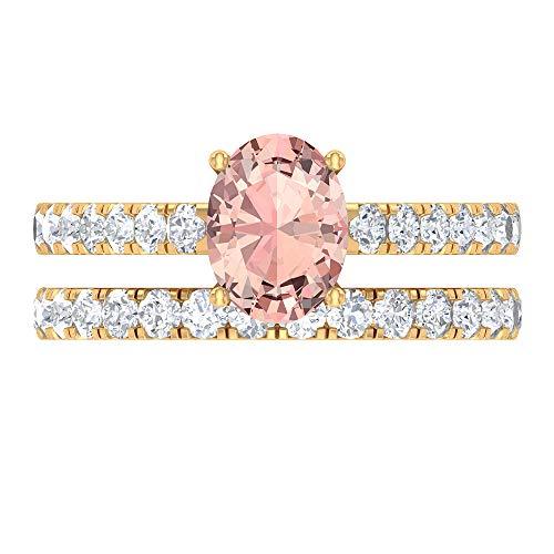 Juego de anillos de novia solitario, 2,48 ct D-VSSI moissanite forma ovalada 8x6 MM Morganita creada en laboratorio, anillo de compromiso de ajuste de corona de oro, 18K Oro amarillo, Size:EU 64