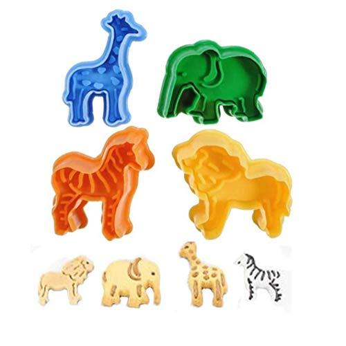 PiniceCore 4pcs Plätzchen Stamp Cutters Kunststoff Biscuit Moulds 3D Tiere Fondant Plunger Cutters Backformen Back Bakeware