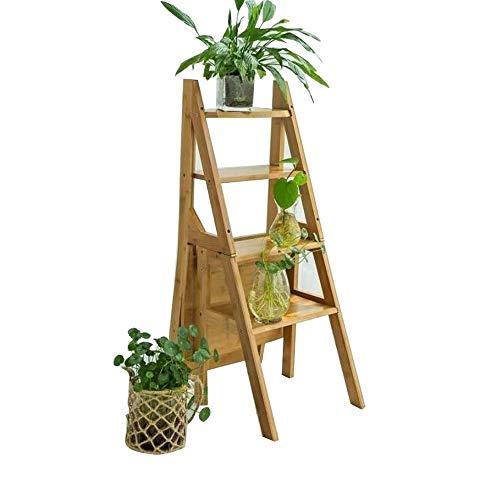 Escalera plegable multifunción for el hogar Silla creativa Escalera de bambú gruesa Taburete Muebl