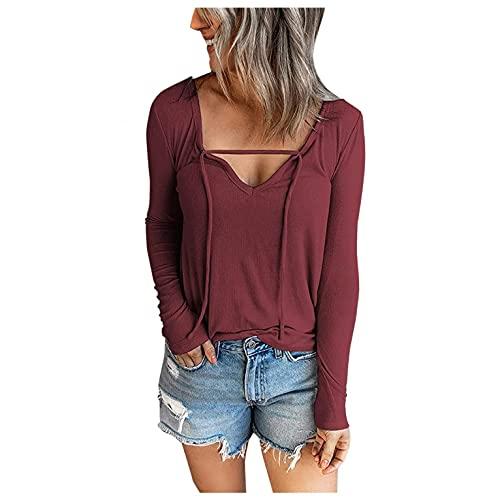 Mujeres de Moda Blusa con Cordón de Color Puro Camisetas con Manga Larga y Cuello en V Casual Loose Top Blouses Otoño e Invierno