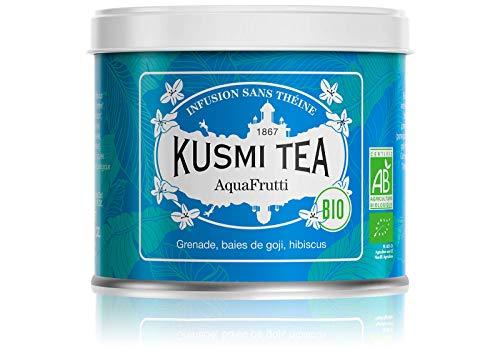 Kusmi Tea AquaFrutti Bio - Aromatisierte Hibiskus und Früchte Mischung - Apfel, Granatapfel, Gojibeeren - Heiß oder als Eistee genießen - Loser Früchtetee - 100 g Metall Teedose