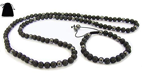Men's Long Necklace + Bracelet, Essential Oil Diffuser Jewellery Black Lava Grey Magnetic Hematite Anxiety & Stress Healing Balance Natural Round Beads Beaded Jewellery 8mm bead Velvet Bag