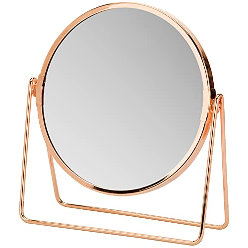 MyGift 7-Inch Modern Rose Gold Plated Metal Bathroom or Dresser Double-Sided Makeup Vanity Mirror with 2X Magnification