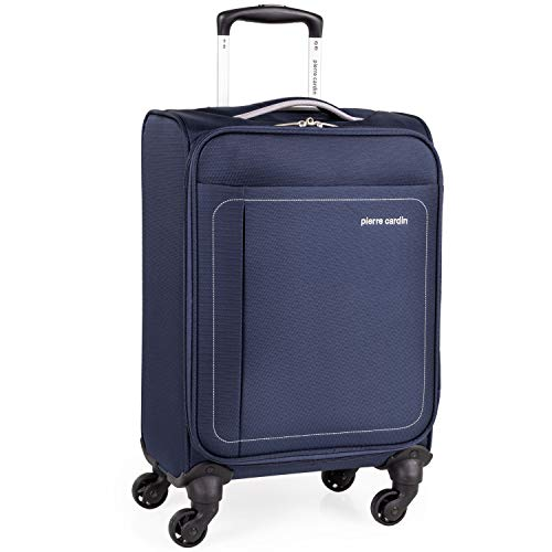 Soft Shell 21 Inch Suitcase with x4 Spinner Wheels - Cabin Aircraft Air France BA Luggage by Pierre Cardin | Fits 55x35x20 Hand Carry On | 21' 30L 2.0kg (Navy & Grey, Small 4 Wheels)