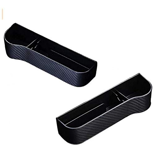 LAANCOO Kaufprodukt Autositz Veranstalter, Auto Kohlefaser Aufbewahrungsbox für Mobiltelefon, Geldbörse, Schlüssel, Coin, schwarz, 2 Auto-Teile