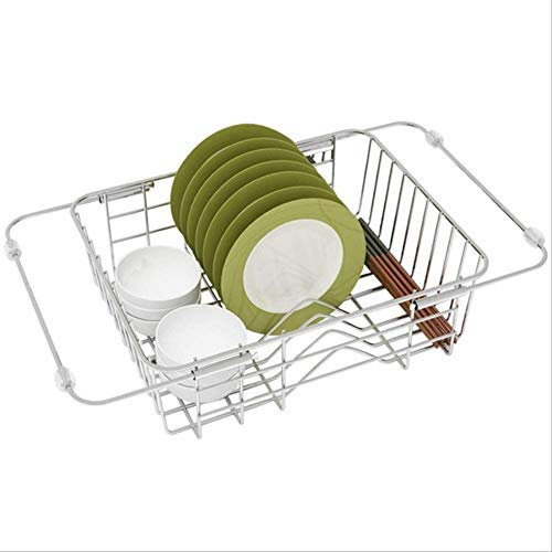 Dish Drying Rack, Expandable Over The Sink Dish Drainer Dish Rack in Sink or on Counter Silver