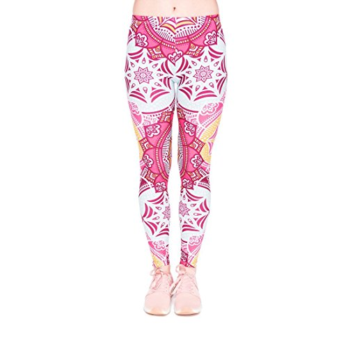 kukubird Printed Patterns Women\'s Yoga Leggings Gym Fitness Running Pilates Tights Skinny Pants Size 6-10 Stretchable-Mandala Mint