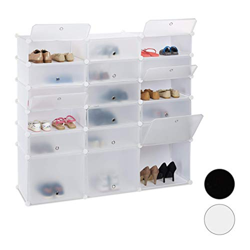 Relaxdays, Biały regał na buty z tworzywa sztucznego, 18 półek z drzwiczkami, system regałowy, na 36 par butów, wys. x szer. x gł.: 125 x 140 x 36 cm, standardowy