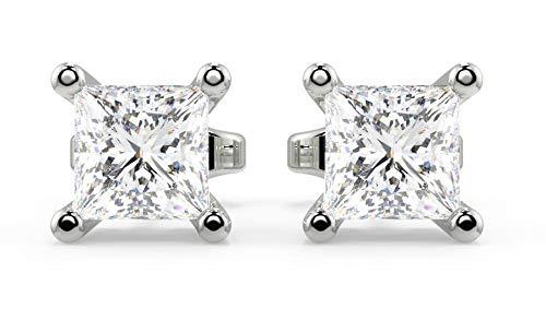 Pendientes de diamante de 0,5 quilates - Pendientes de corte princesa para mujer oro blanco