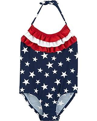 Osh Kosh Girls' Little One-Piece Swimsuit, Americana, 8