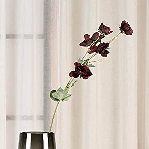 FSFF Artificial Flowers Indoors face Flowers Anemone for Home,Party,Wedding Decoration DIY Decoration 5 Sticks-Red Wine