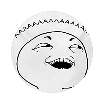 35  Round Gaming Chair mat Cute LOL Guy Happy Boy Meme Face Internet s Community Labels Illustration mat for Office Chair Black White
