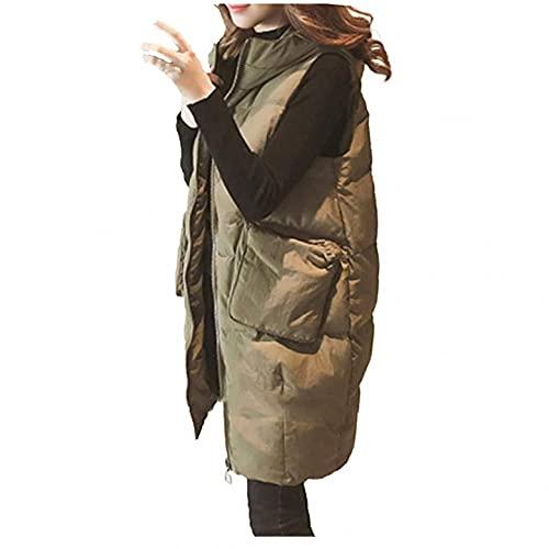 Cappotto invernale lungo da donna, con cappuccio, invernale, leggero, sottile, senza maniche, portatile, spesso, in tinta unita, per il tempo libero, verde militare, XL