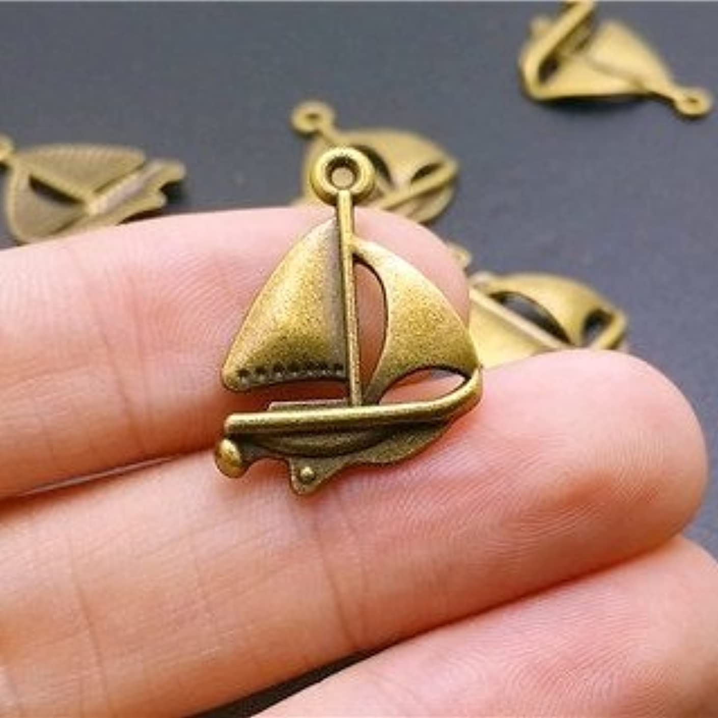 16 pcs Sailboat Ship Charms Antique bronze Charm pendants 24x18mm (CB165)