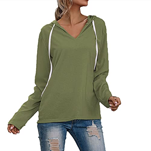 Primavera Y Verano Mujer Casual Suelta Irregular Color SóLido CordóN Cuello En V Sudadera con Capucha Camiseta Mujer