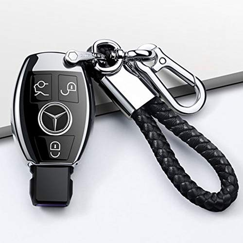 Longzheyu for Mercedes Benz Key Fob Cover, Premium Soft TPU Key Case Cover Compatible with Mercedes Benz C E S M CLS CLK G Class Keyless Smart Key Fob_Silver