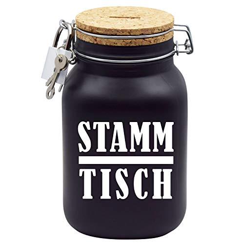 Spardose Stammtisch Sparschwein-Glas Geld-Geschenk-Idee in Schwarzem Glas XL