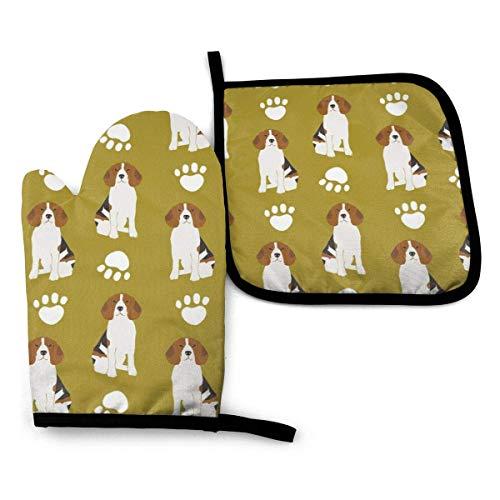 Guantes de Cocina y Juego de Mantel Individual Beagle Beagles Mascota Perro Perros Lindo Paw Paws Imprimircon Silicona Antideslizantes para Cocinar, Asar(Juego de 2 piezas)
