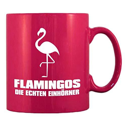 Pinke Kaffeetasse aus Glas Tasse FLAMINGOS Die echten Einhörner