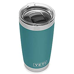 YETI Rambler 20 oz stainless steel vacuum insulated tumbler for hot drinks, river green color.