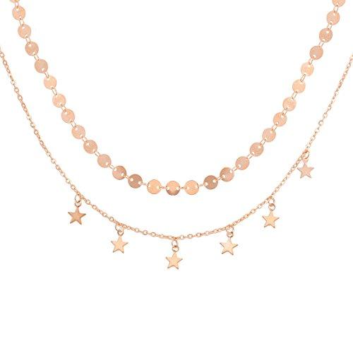 Doble capa de la cadena de la moneda estrella de la borla del collar de gargantilla para las mujeres, collar de gargantilla de oro conjunto de capas múltiples capas de cadena de clavícula joyería para