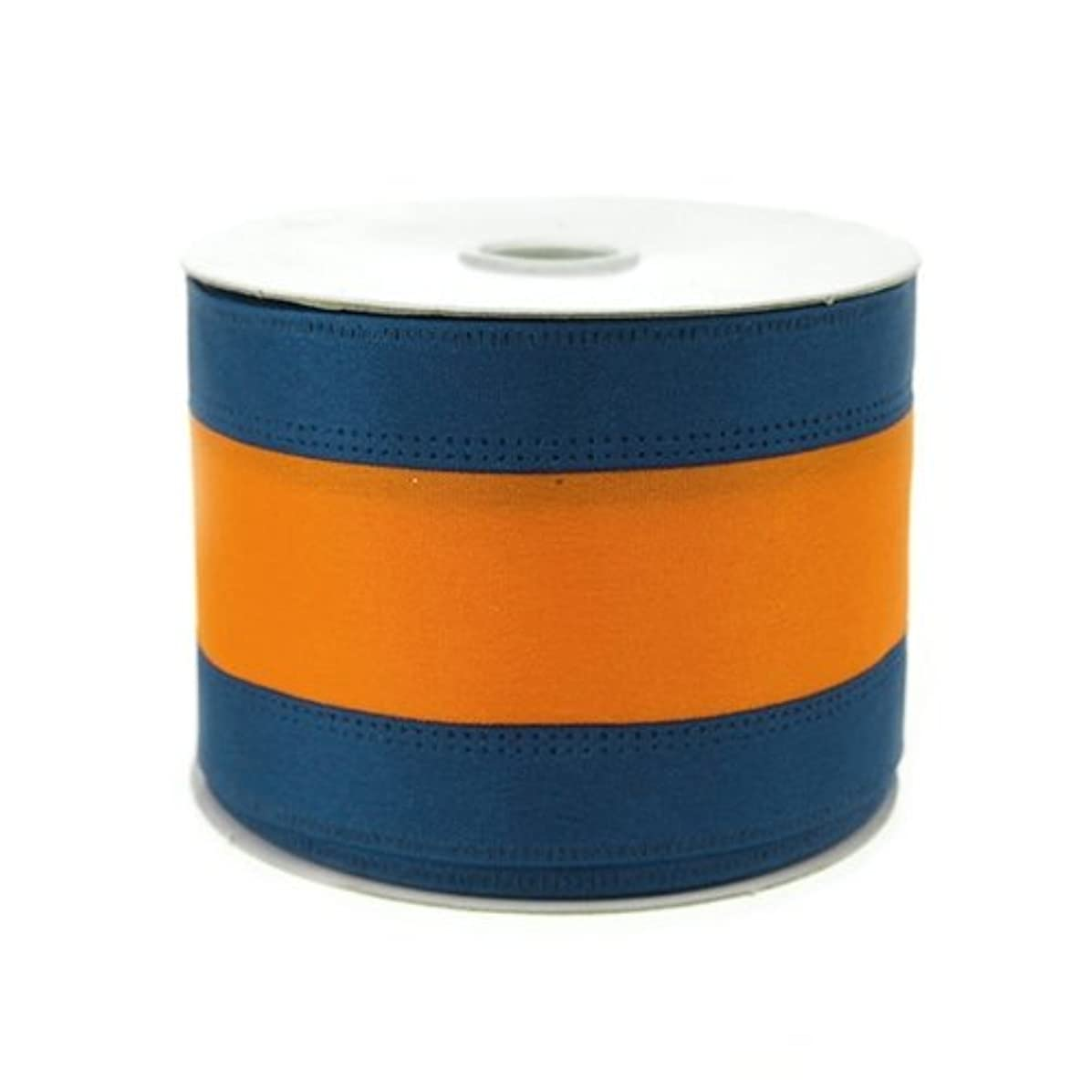 Homeford Firefly Imports Stripe Sport Theme Ribbon Wired Edge, 2-1/2-Inch, 10 Yards, Navy/Orange, 2-1/2