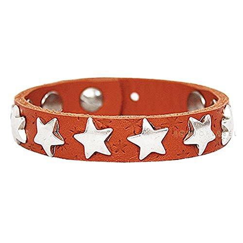 B.Belt BB6026L03-340 Bracelet en Cuir Oranges avec Rivets en Forme d'étoile Argenté Taille Unique